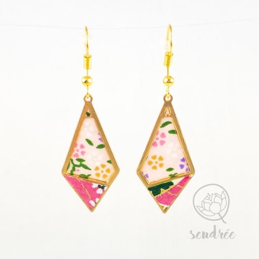 BO losange S washi rose sendrée papier japonais