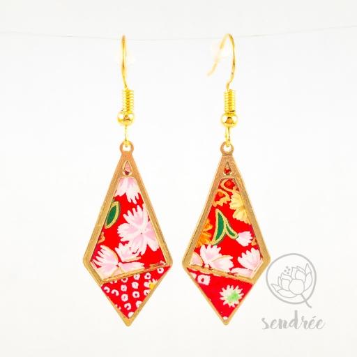 BO losange S washi sakura red sendrée papier japonais