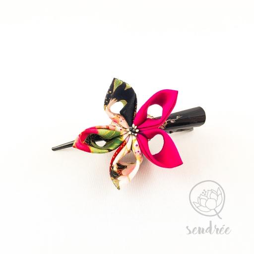 Pince fleur black and pink sendrée tissu japonais