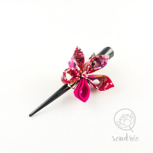 Pince fleur mini sakura rose sendrée tissu japonais
