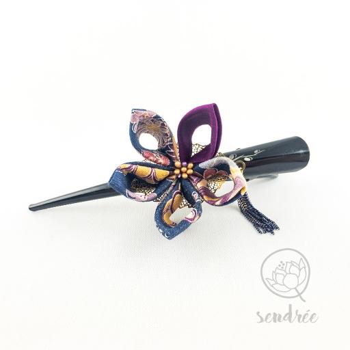 Pince fleur blue purple sendrée tissu japonais