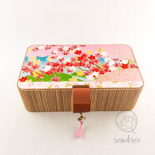 Boîte bambou washi momiji sendrée papier japonais