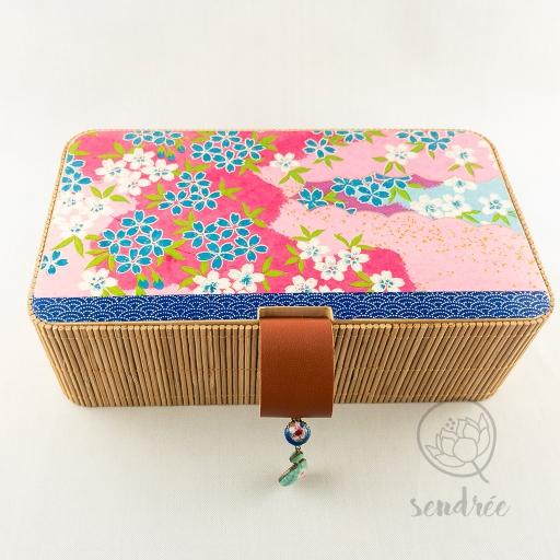 Boîte bambou washi sakura sendrée papier japonais