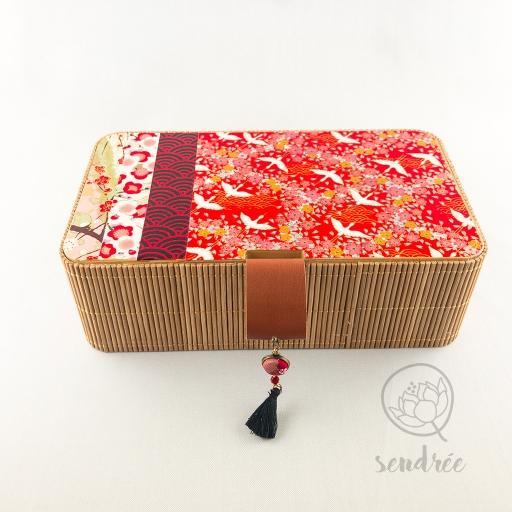 Boîte bambou washi grue rouge sendrée papier japonais
