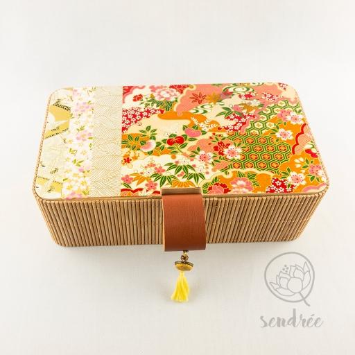 Boîte bambou washi rivière sendrée papier japonais