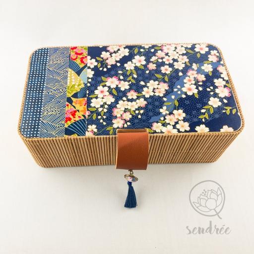 Boîte bambou washi cerisier sendrée papier japonais