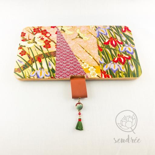 Boîte L bambou washi grues sendrée papier japonais