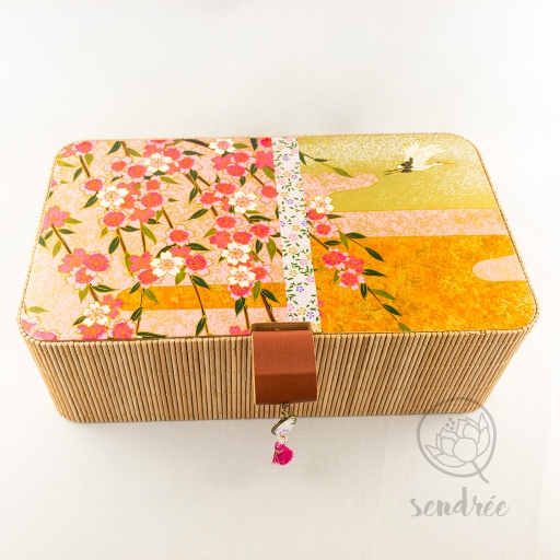 Boîte L bambou washi sakura sendrée papier japonais
