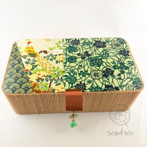 Boîte L bambou washi paon sendrée papier japonais