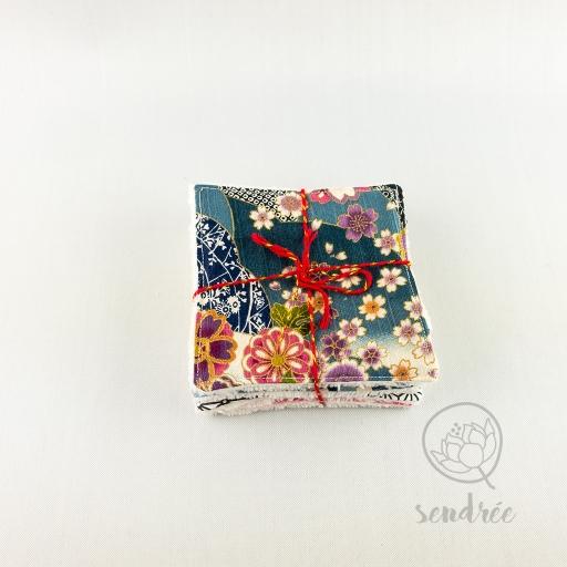 Set lingettes sweet blue sendrée tissu japonais