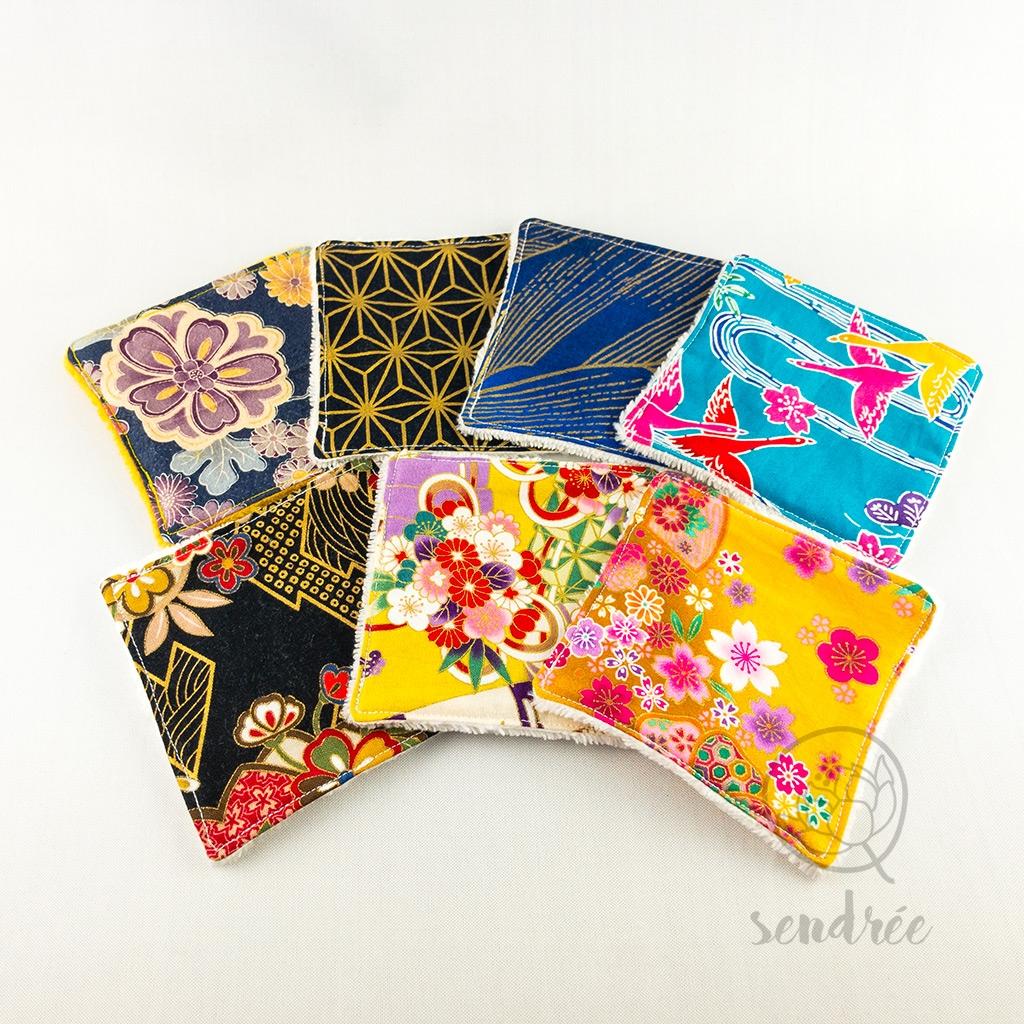 Set lingettes golden blue sendrée tissu japonais