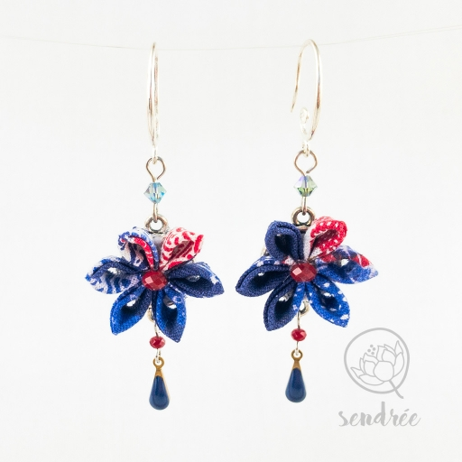 BO fleurs blue mood sendrée tissu japonais