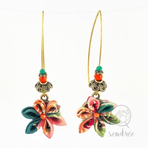 BO fleurs green coral sendrée tissu japonais