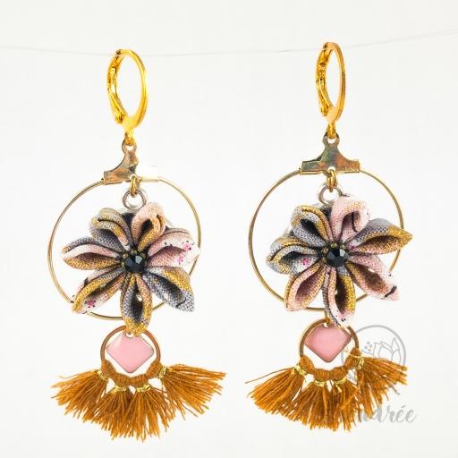 BO fleurs lilas sendrée tissu japonais