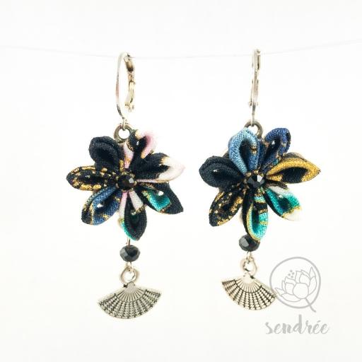 BO fleurs noir azur sendrée tissu japonais