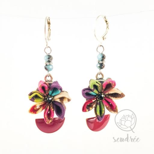 BO fleurs framboise sendrée tissu japonais