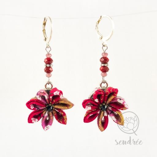 BO fleurs sakura framboise sendrée tissu japonais