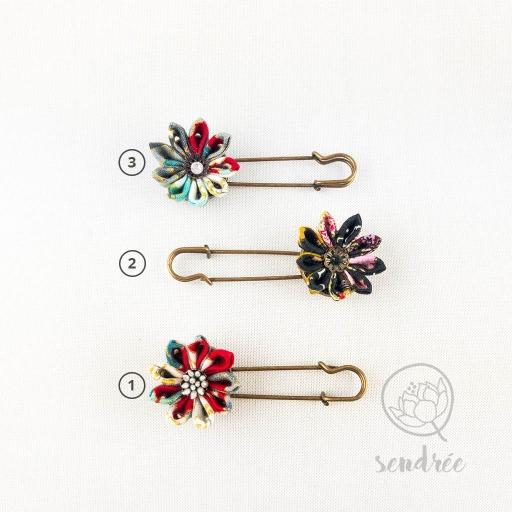 Broches fleur sendrée tissu japonais