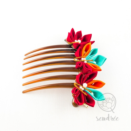 Peigne momiji sendrée tissu japonais