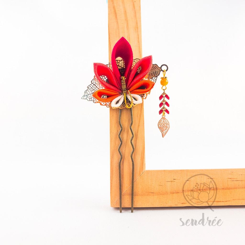 Épingle fleur momiji feuille sendrée tissu japonais
