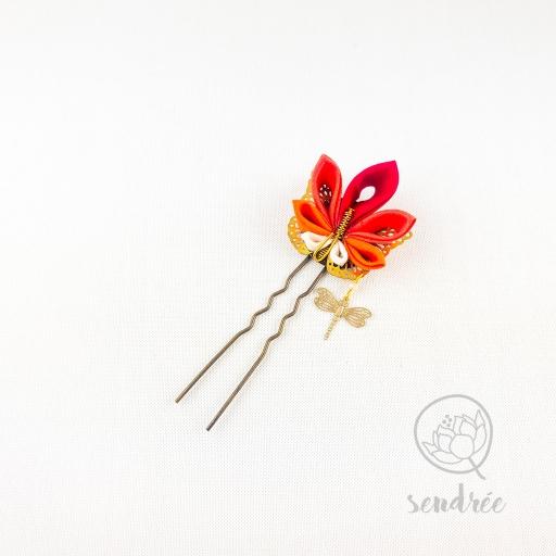 Épingle fleur momiji papillon sendrée tissu japonais