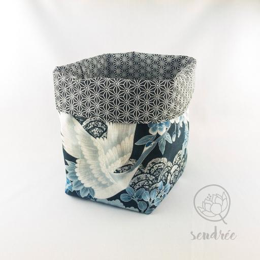 Panière L grue bleue sendrée tissu japonais