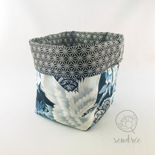 Panière M grue bleue sendrée tissu japonais