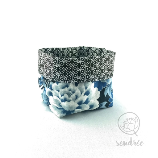 Panière S grue bleue sendrée tissu japonais