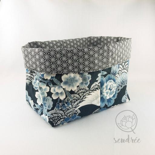 Panière XL grue bleue sendrée tissu japonais