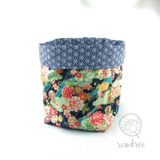 Panière L florale bleue sendrée tissu japonais