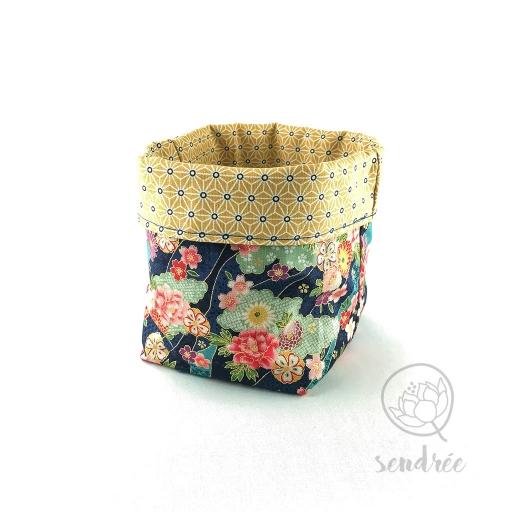 Panière L florale jaune sendrée papier japonais