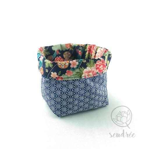 Panière S florale bleue sendrée tissu japonais