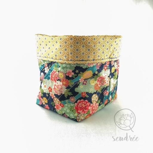 Panière M florale jaune sendrée tissu japonais