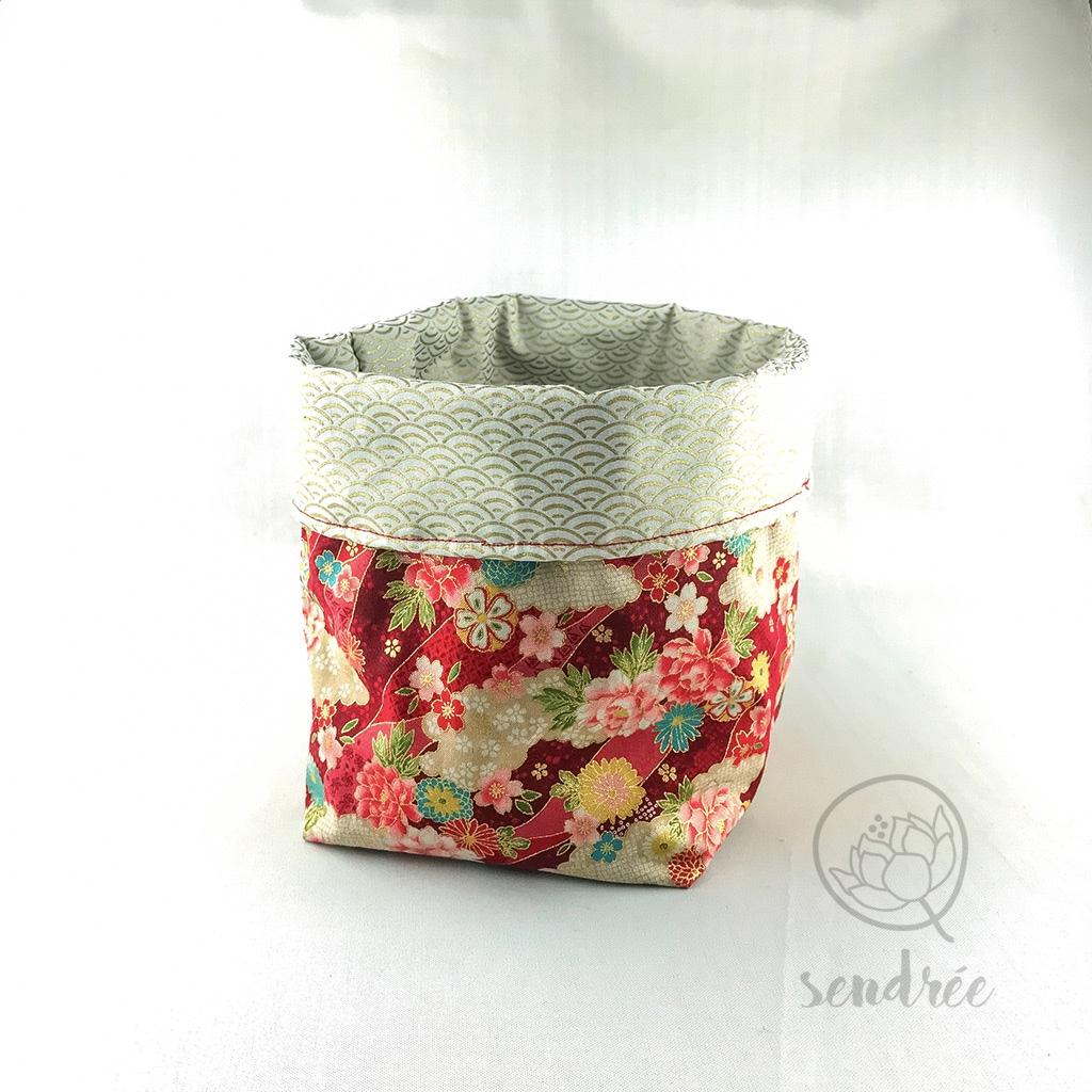 Panière L florale rouge sendrée tissu japonais
