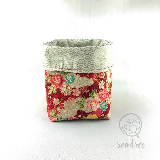 Panière M florale rouge sendrée tissu japonais
