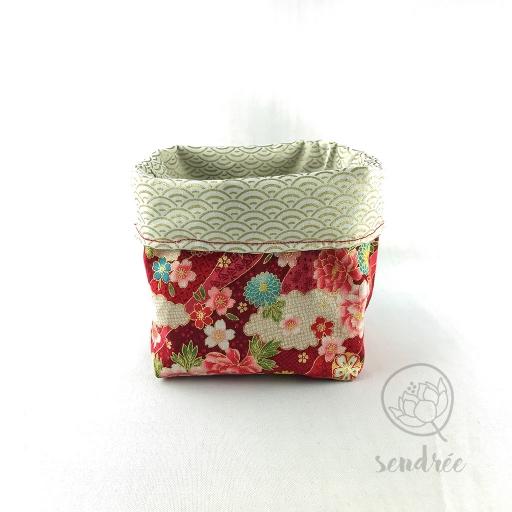 Panière S florale rouge sendrée tissu japonais