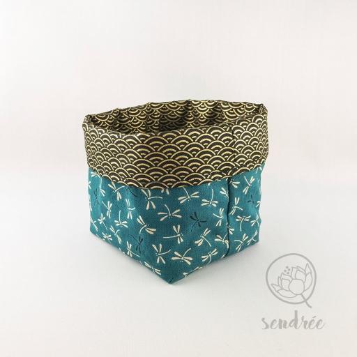 Panière S libellules vert canard sendrée tissu japonais