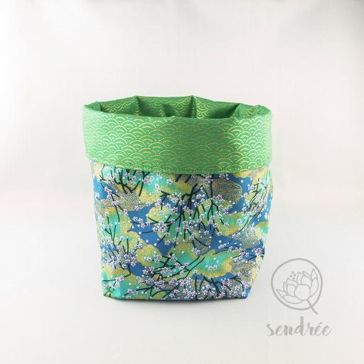 Panière L sakura vert sendrée tissu japonais