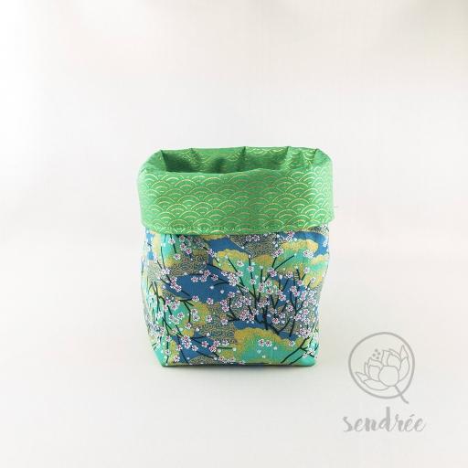 Panière M sakura vert sendrée tissu japonais