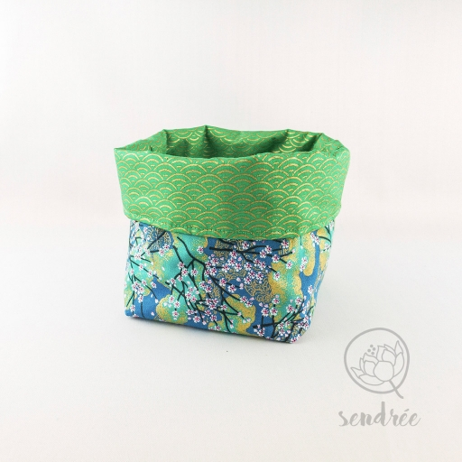 Panière S sakura vert sendrée tissu japonais