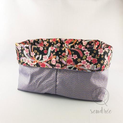 Panière XL rubans purple sendrée tissu japonais