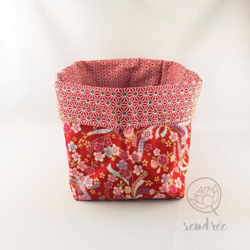 Panière XL rubans red sendrée tissu japonais