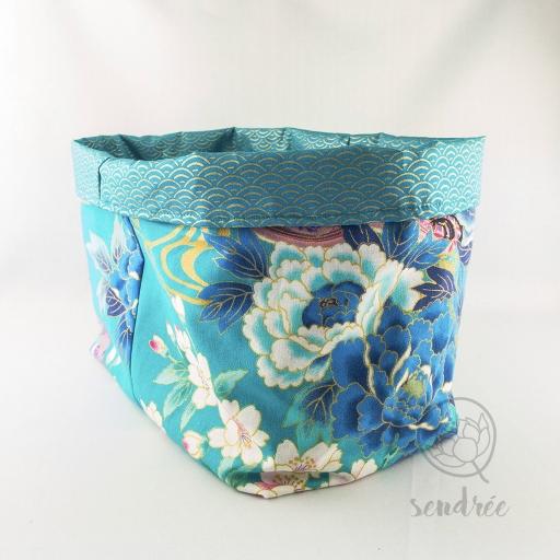 Panière XL geisha bleue sendrée tissu japonais