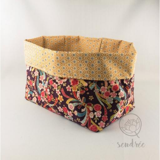Panière XL rubans jaune sendrée tissu japonais