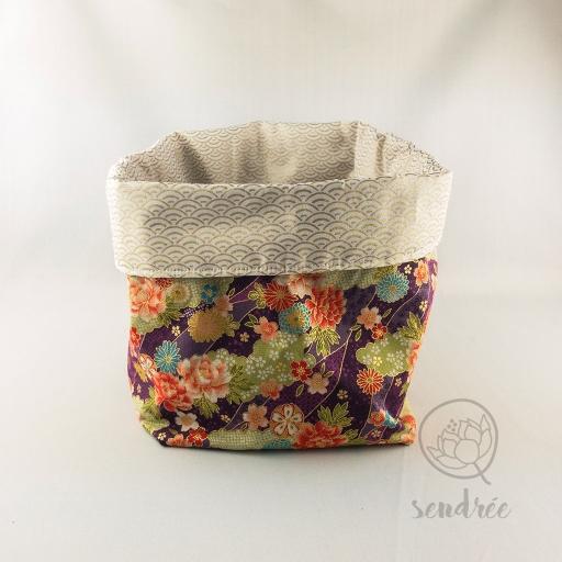 Panière XL rivière de fleurs beige sendrée tissu japonais