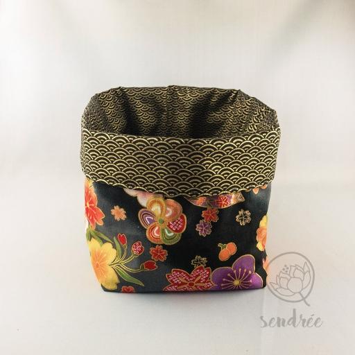 Panière XL floral noire sendrée tissu japonais