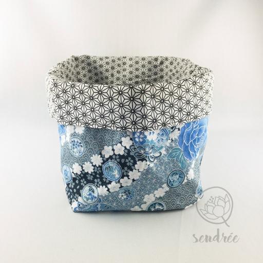 Panière XL ballon bleu noir sendrée tissu japonais