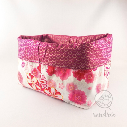 Panière XL floral rose sendrée tissu japonais