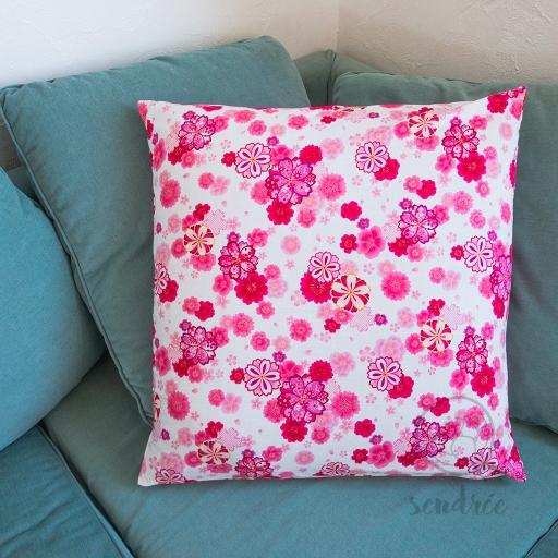 Taie d'oreiller floral rose sendrée tissu japonais