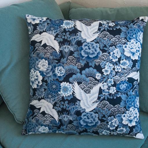 Taie d'oreiller grue bleue sendrée tissu japonais